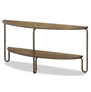 French Modern Wood + Metal Console Sofa Table