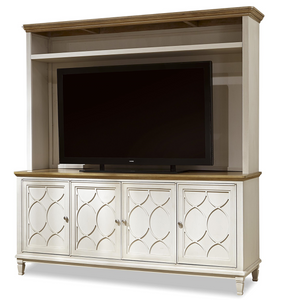 French Modern Wood 4 Door TV Media Console with Hutch