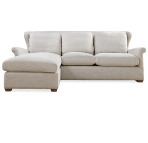 Haven Belgian Linen Upholstered Wingback Sectional Sofa
