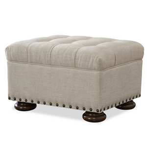 Maxwell Linen Upholstered Tufted Ottoman with Nailheads