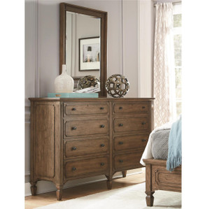 Maison Wooden 8 Drawers Double Dresser with Mirror