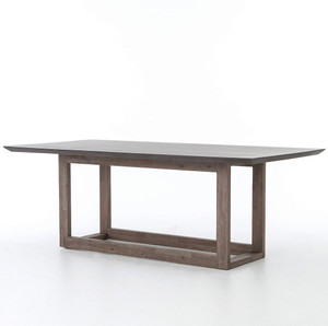 Masonry Wood and Black Concrete Top Dining Table 60""