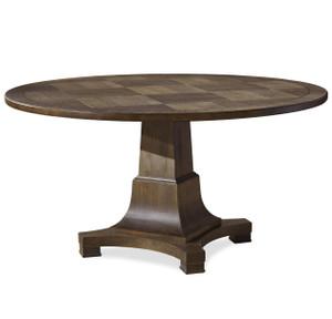 "Playlist Vintage Oak Pedestal Round Dining Table 58"""