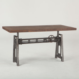 French Industrial Loft Metal and Wood Crank Adjustable Table