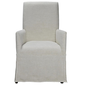 Sojourn Linen Upholstered Skirted Dining Arm Chair