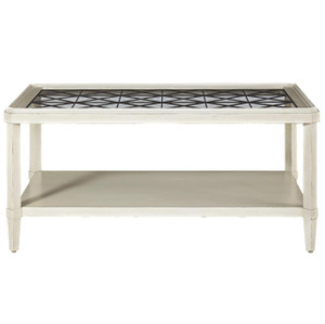 Sojourn French Country Glass Top Cocktail Table - White