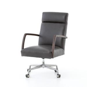 Bryson Black Leather Oak Office Desk Chair