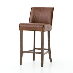Urban-Rustic Chestnut Leather Bar Stool