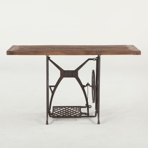 """Steampunk Industrial Wood + Iron Console Table 54"""""""