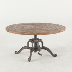 "Steampunk Industrial Crank Adjustable Round Coffee Table 42"""
