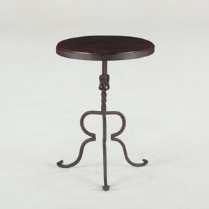 Industrial Loft Iron + Wood Round Side Table 17""