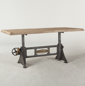 "Steampunk Industrial Steel + Wood Crank Dining Table 72"""