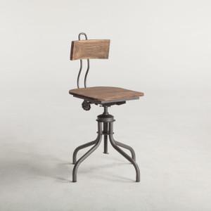 Steampunk Industrial Steel + Wood Adjustable Dining Chair