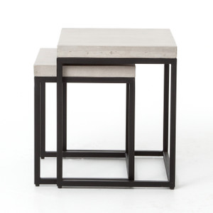 Maximus Indoor / Outdoor Nesting Side Tables - Natural Concrete