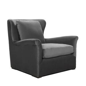 Wingback Gray Velvet Upholstered Arm Chair
