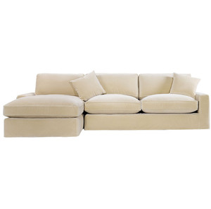 Casual Sand Velvet Upholstered Sectional Sofa