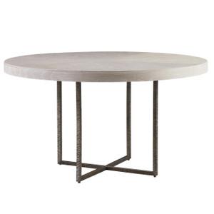 Modern Grey Oak Wood + Bronze Metal Leg Round Dining Table