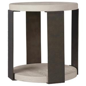 Modern Grey Oak Wood Bronze Metal Leg Round Dining Table