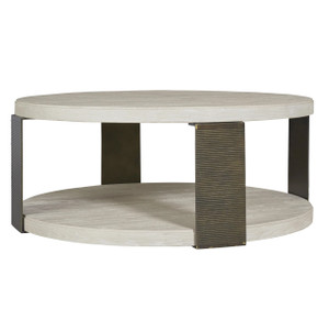 Modern Grey Oak Wood + Bronze Metal Round Cocktail Table