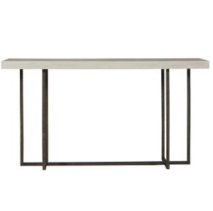 Modern Grey Oak Wood + Bronze Metal Console Table