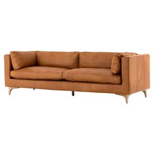 Beckwith Mid Century Modern Camel Leather Cushion Back Sofa 94""