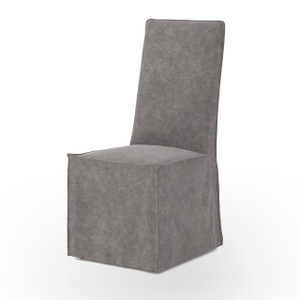Downey Upholstered Skirted Dining Chair - Gray Canvas