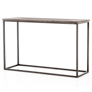 Linden Industrial Iron and Marble Top Console Table 48""