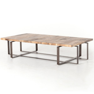 Brant Spalted Wood and Iron Leg Large Coffee Table 65""