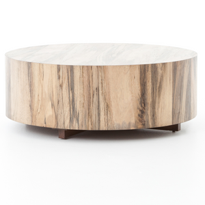 Hudson Spalted Rustic Wood Block Round Coffee Table