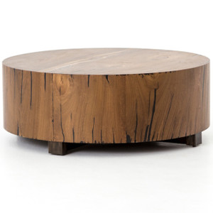 Hudson Round Natural Wood Block Coffee Table