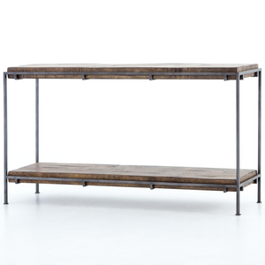 Barton Iron Frame + Slab Wood Console Table