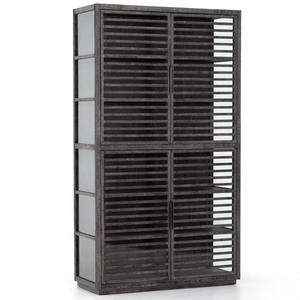 Genoa Modern Rustic Black Oak Wood Curio Display Cabinet