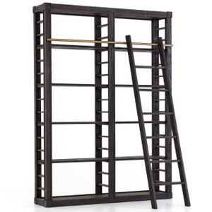 French Modern Reclaimed Wood Library Bookshelf with Ladder