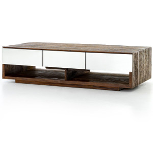 Betty Rustic Peroba Wood Coffee Table with Mirrored Drawers