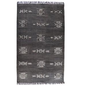 Faded Black Tribal Dhurrie Area Rug 5' x 8'