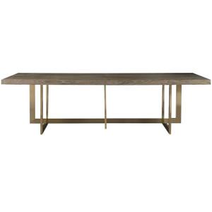 Jamison Modern Oak Top + Bronze Leg Linear Dining Table