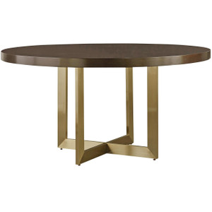 """Gibson Modern Brushed Gold Round Wood Dining Table 58"""""""