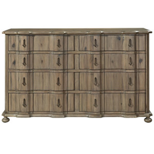 French Country Scalloped 8 Drawers Double Dresser