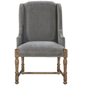 French Country Gray Velvet Upholstered Host Arm Chair