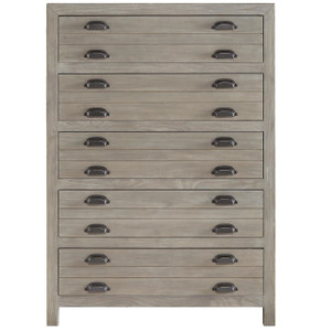 French Printer's Rustic Gray Wood Narrow 5-Drawers Chest