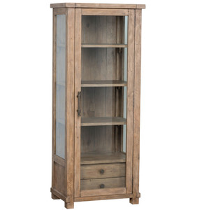 Farmhouse Reclaimed Wood Curio Cabinet with Glass Door