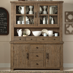 Farmhouse Reclaimed Wood Sideboard with Hutch Cabinet