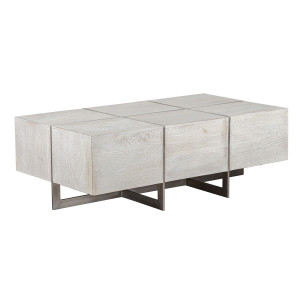 """Uptown Whitewashed Solid Wood Coffee Table 54"""""""