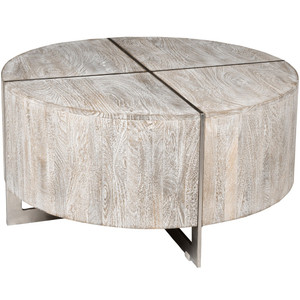 """Uptown Whitewashed Solid Wood Round Coffee Table 36"""""""