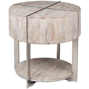 Uptown Whitewashed Solid Wood Round End Table
