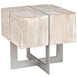 Uptown Whitewashed Solid Wood Square End Table