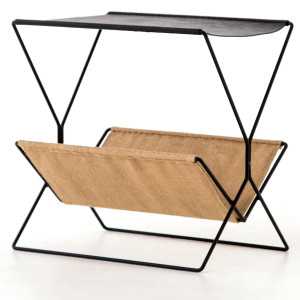 Monarch Black Leather + Hemp Magazine Rack
