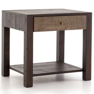 Calais Reclaimed Wood 1 Drawer End Table- Rustic Brown