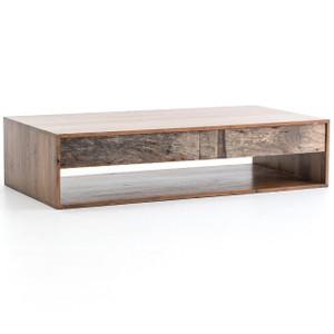 Lucas Reclaimed Peroba Wood 2 Drawer Storage Coffee Table