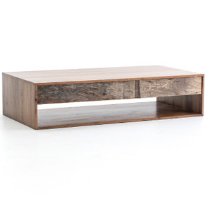 Lucas Reclaimed Peroba Wood 2 Drawer Storage Coffee Table